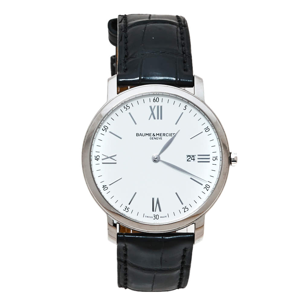 Baume & Mercier White Stainless Steel & Leather Classima Men's Wristwatch 39MM