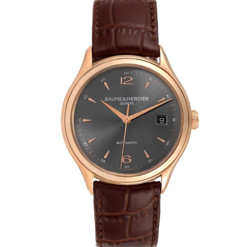 Baume Grey 18K Rose Gold Mercier Clifton 10059 Men's Wristwatch 39 MM
