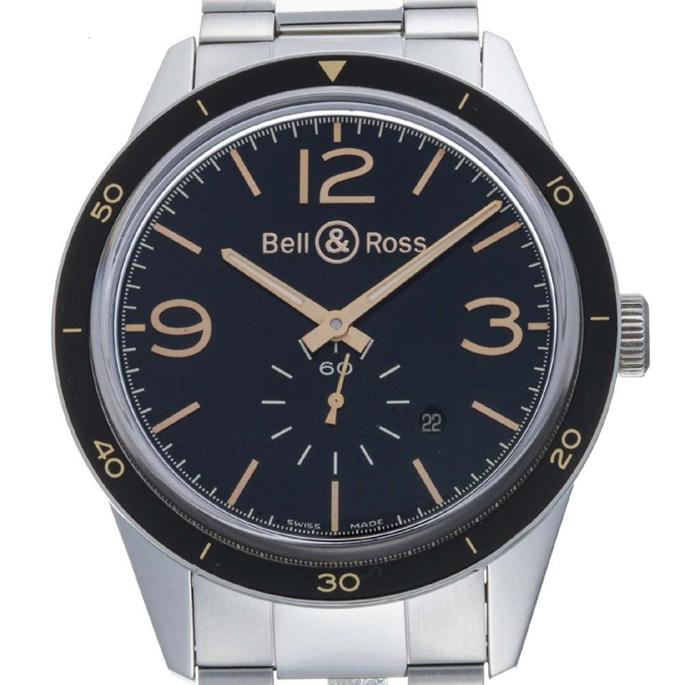 Bell & Ross Black Stainless Steel Sports Heritage Vintage BR123-95-SP Men's Wristwatch 42 MM
