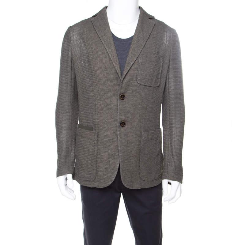 Berluti Moss Green Wool and Silk Blend Wicker Weave Blazer L