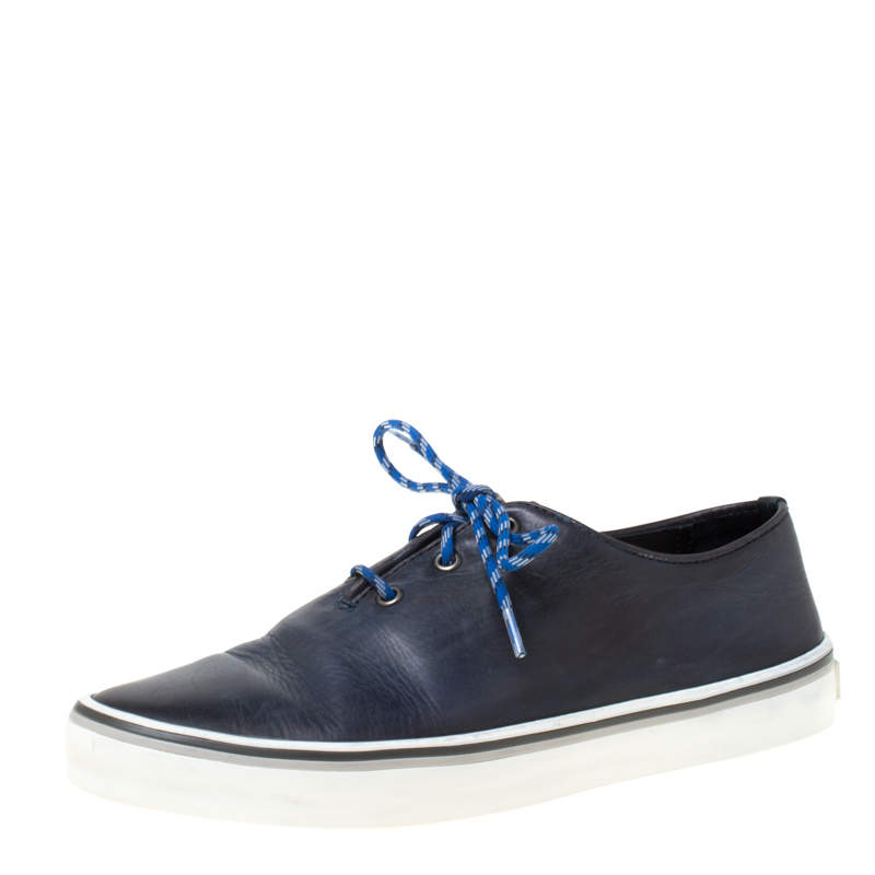 Berluti Blue Leather Lace Up Sneakers Size 41.5