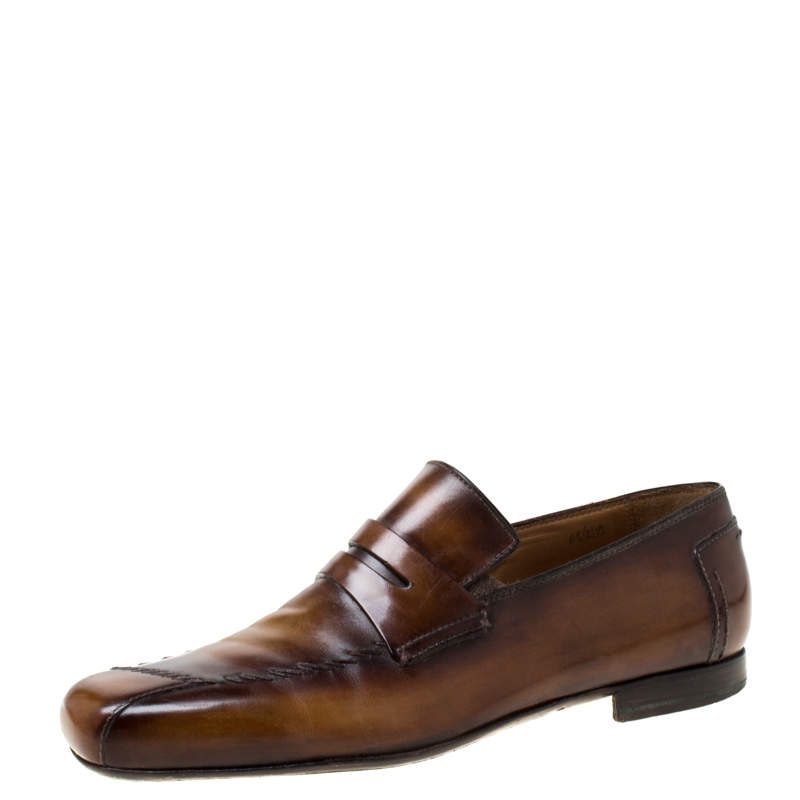 Berluti Brown Leather Penny Loafers Size 42.5