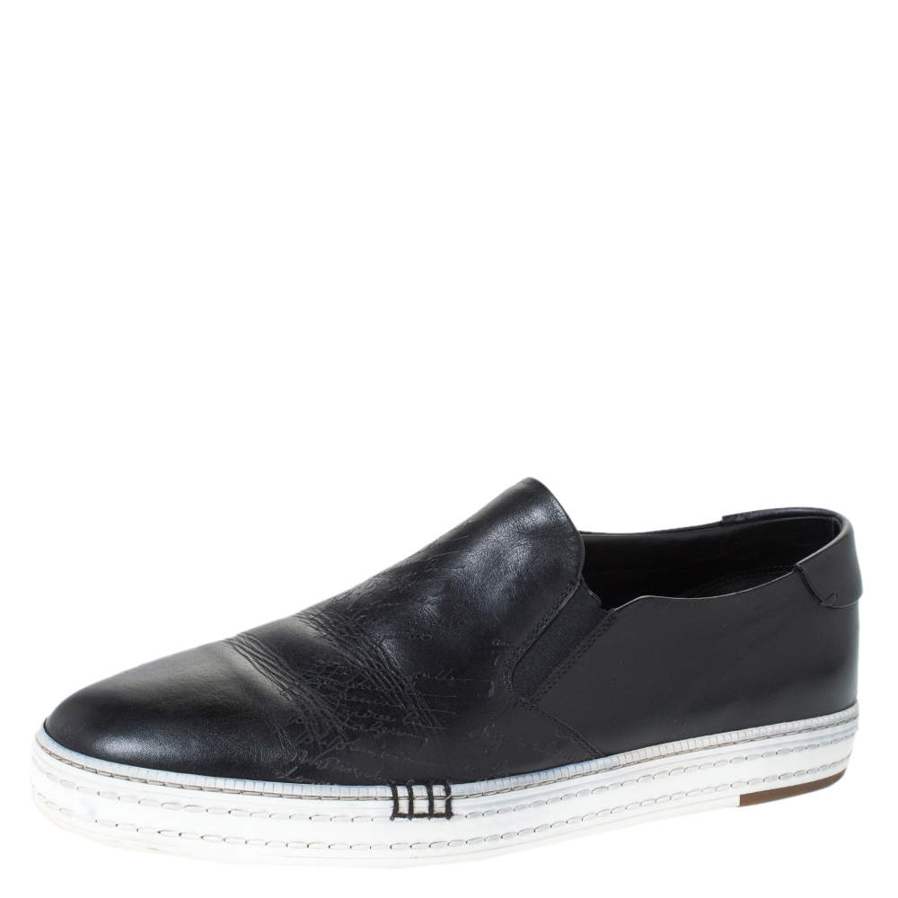 Berluti Black Leather Playtime Palermo Scritto Slip On Sneaker Size 43.5