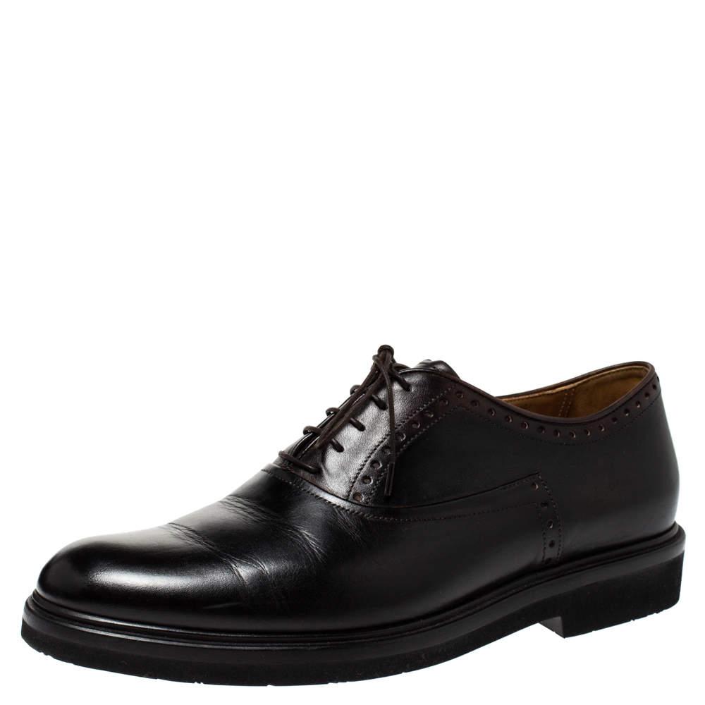 Berluti Black Leather Lace Up Oxfords Size 42