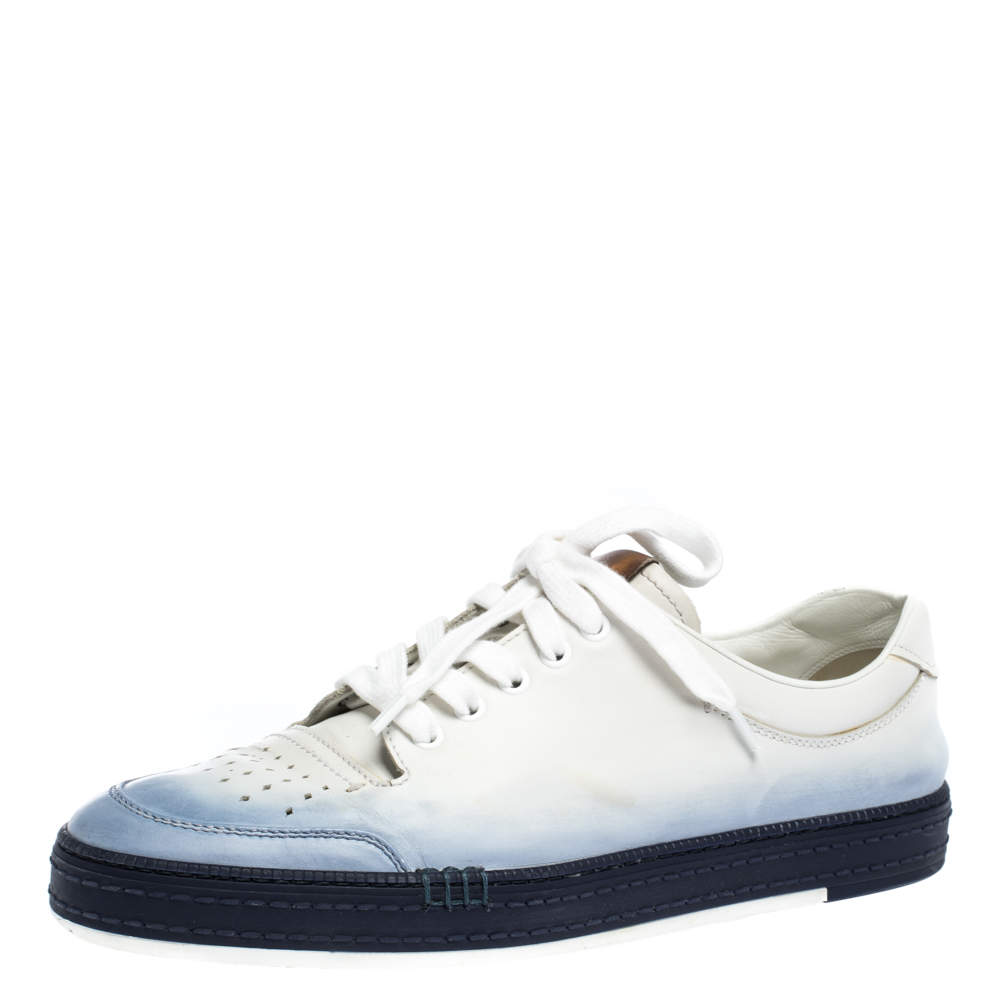 Berluti White/Blue Ombre Leather Playtime Low Top Sneakers Size 43