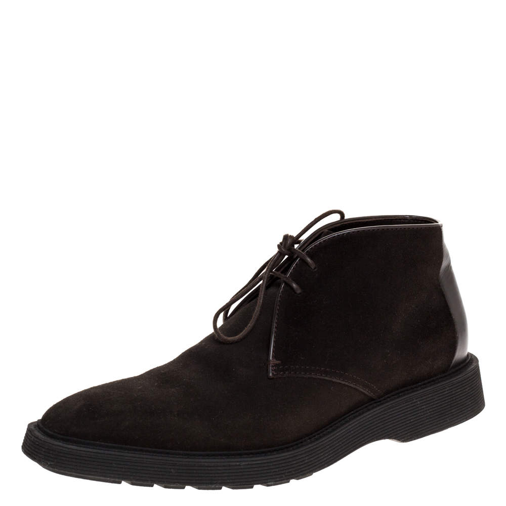 Berluti Dark Brown Suede And Leather Lace Up Desert Boots Size 42.5