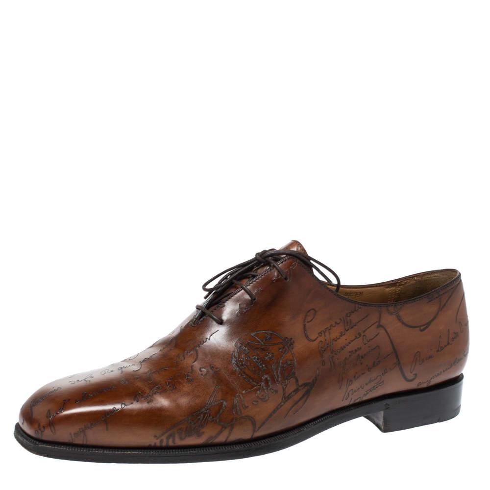 Berluti Brown Galet Scritto Leather Alessandro Oxfords Size 45