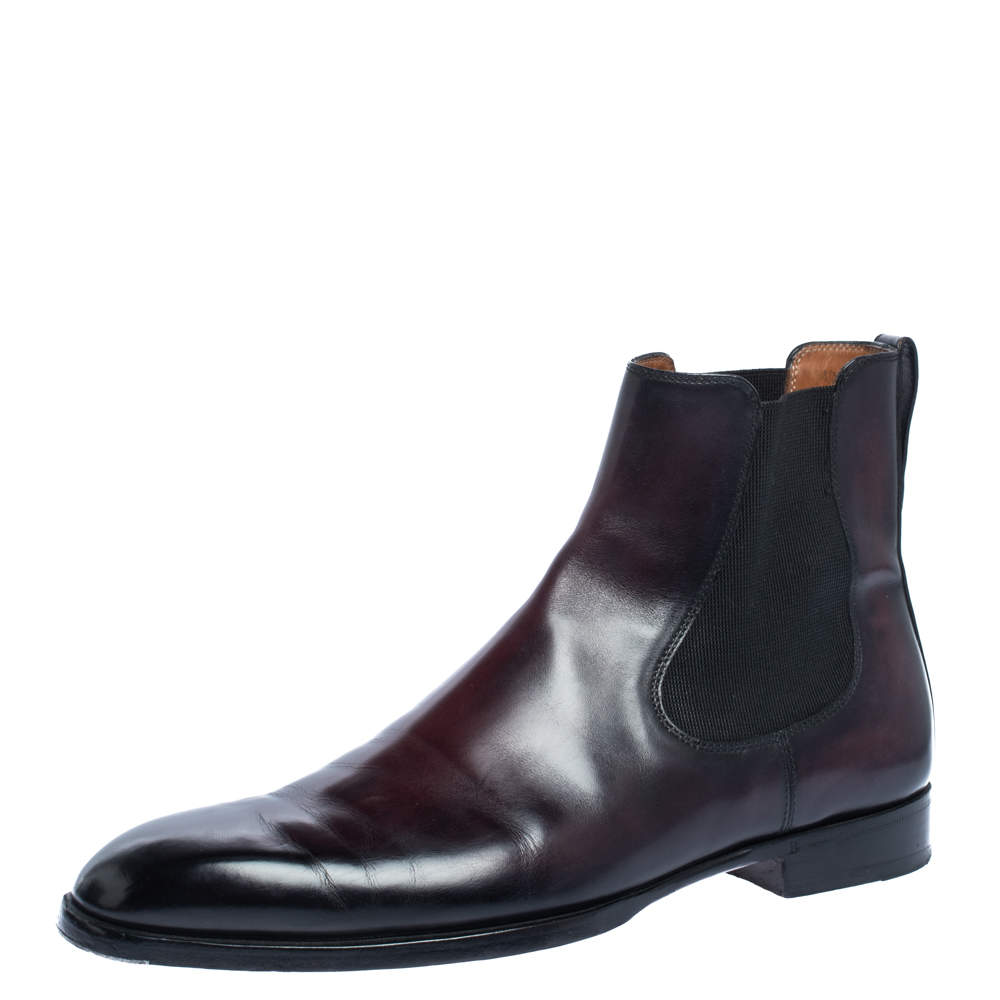 Berluti Dark Brown Shiny Leather Chelsea Boots Size 42