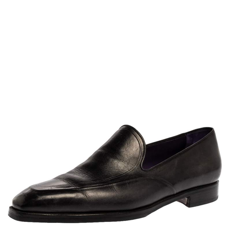 Berlutti Black Leather Slip On Loafers Size 42.5
