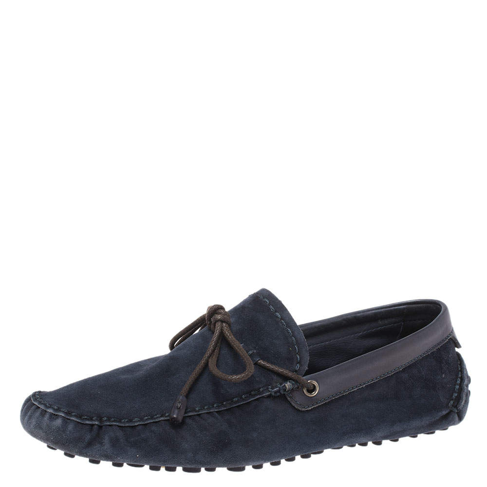 Berluti Navy Blue Soft Suede and Leather Bow Loafers Size 42
