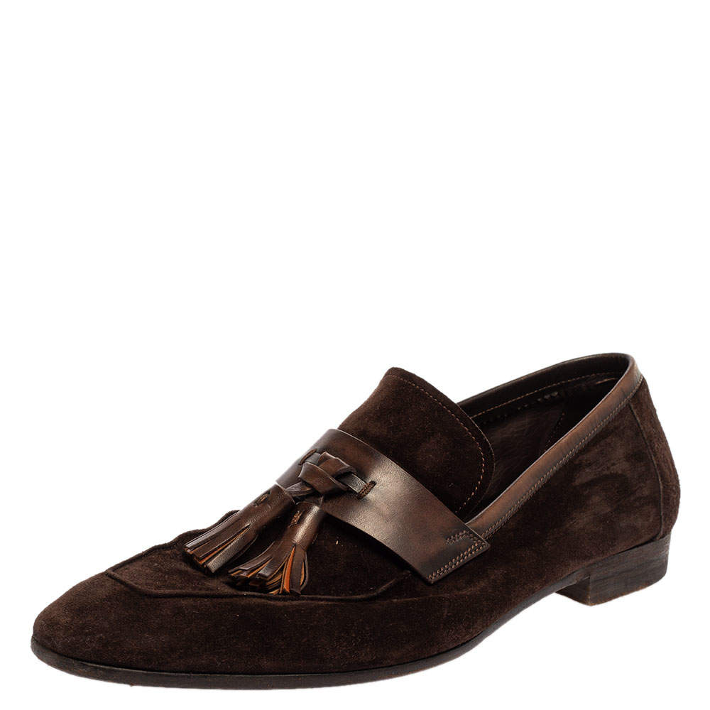 Berluti Brown Suede Tassel Loafers Size 42