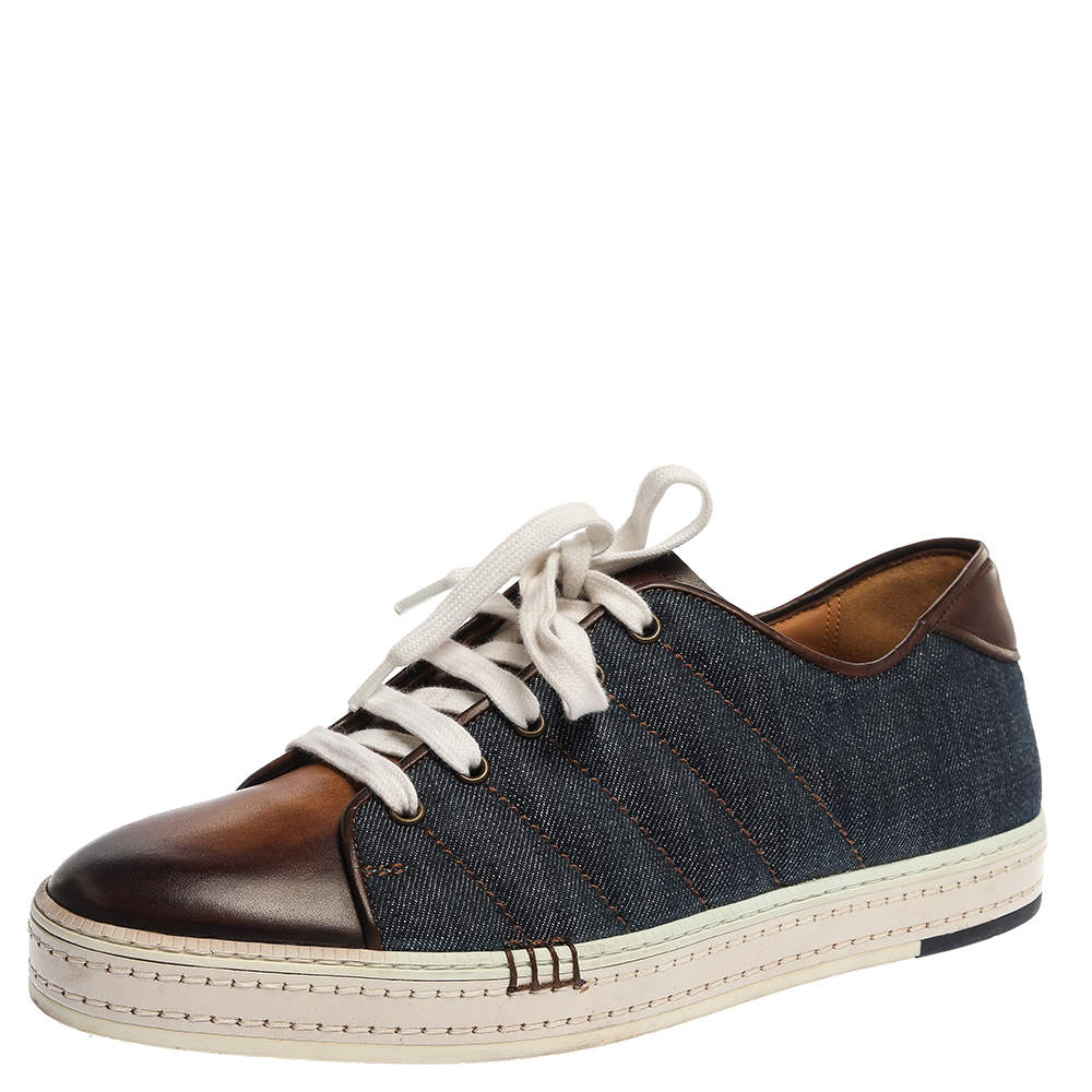 Berluti Blue/Brown Denim And Leather Playfield Side-Stitch Sneakers Size 43.5