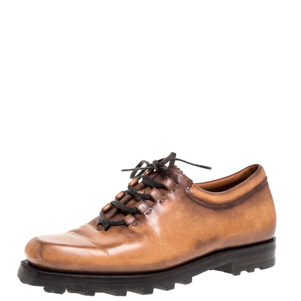 Berluti Brown Leather Lace Up Oxfords Size 41