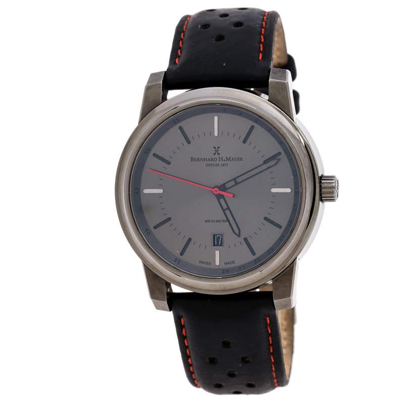 Bernhard H. Mayer Black Gun IP Plated Stainless Steel Stallion Men's Wristwatch 44 mm
