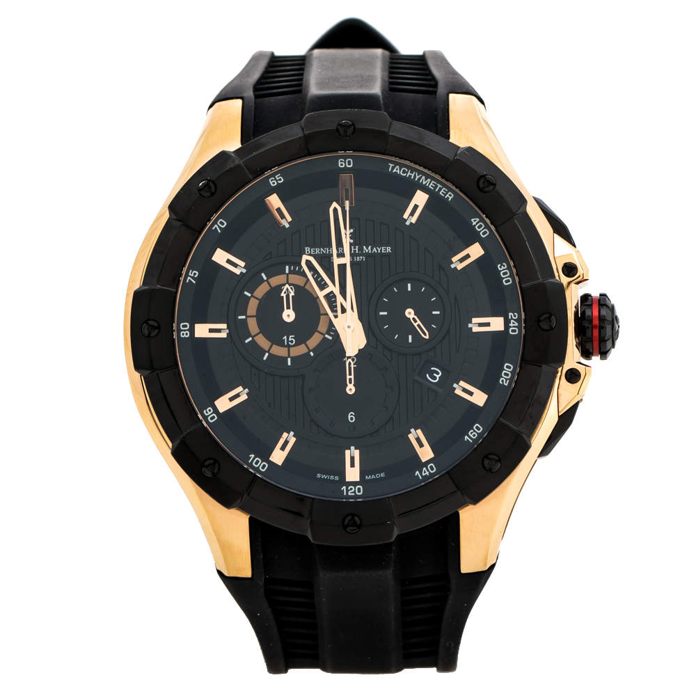 Bernhard H. Mayer Black Rose Gold Plated Steel Victor Chronograph Men's Wristwatch 50 mm