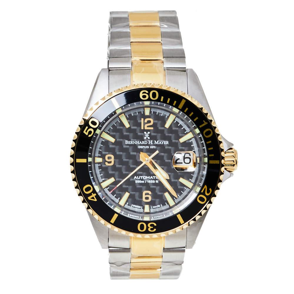 Bernhard H. Mayer Black Gold PVD Stainless Steel Nauticus Royale Men's Wristwatch 43 mm