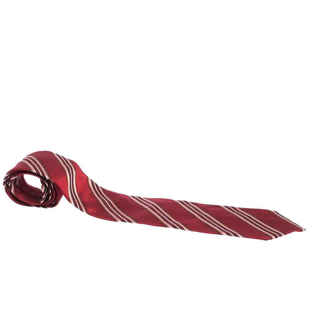 Boss By Hugo Boss Red Diagonal Striped Jacquard Traditional Silk Tie