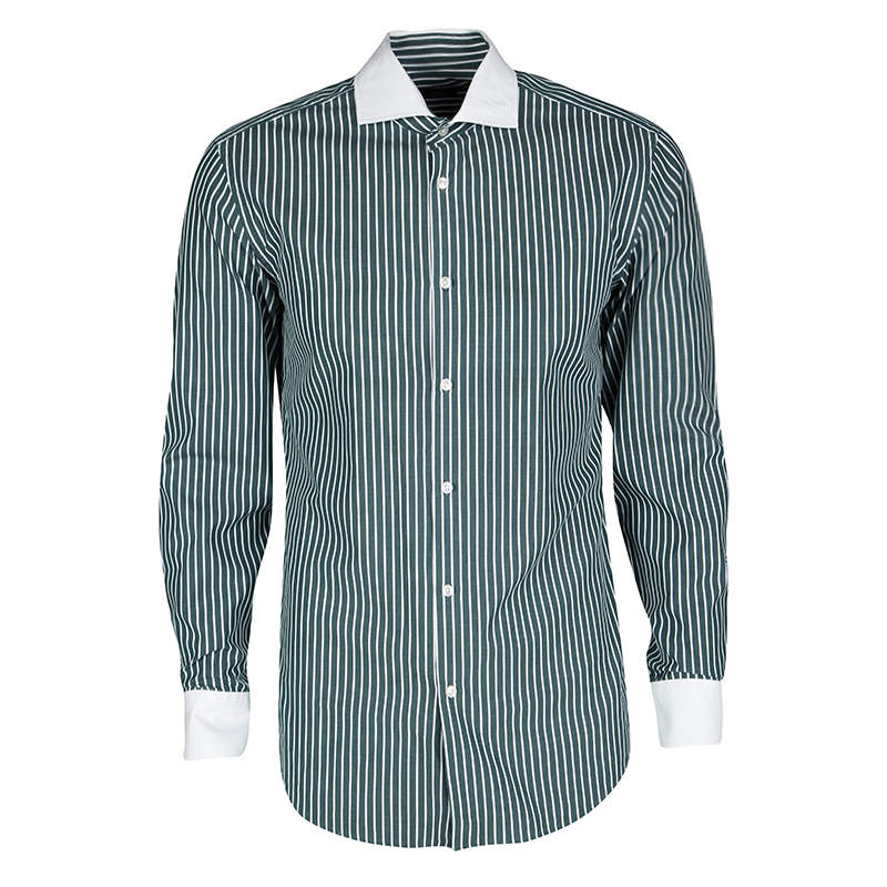 Boss By Hugo Boss Green and White Striped Long Sleeve Slim Fit Jonah Shirt S