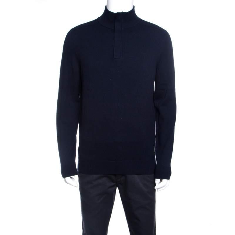 Boss By Hugo Boss Navy Blue Regular Fit Zip Detail Sweater M