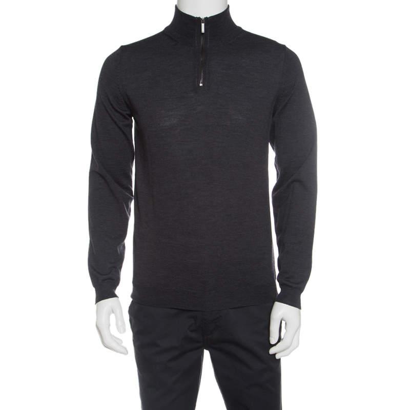 Boss By Hugo Boss Grey Extra Fine Merino Wool Zip Detail Sweater M