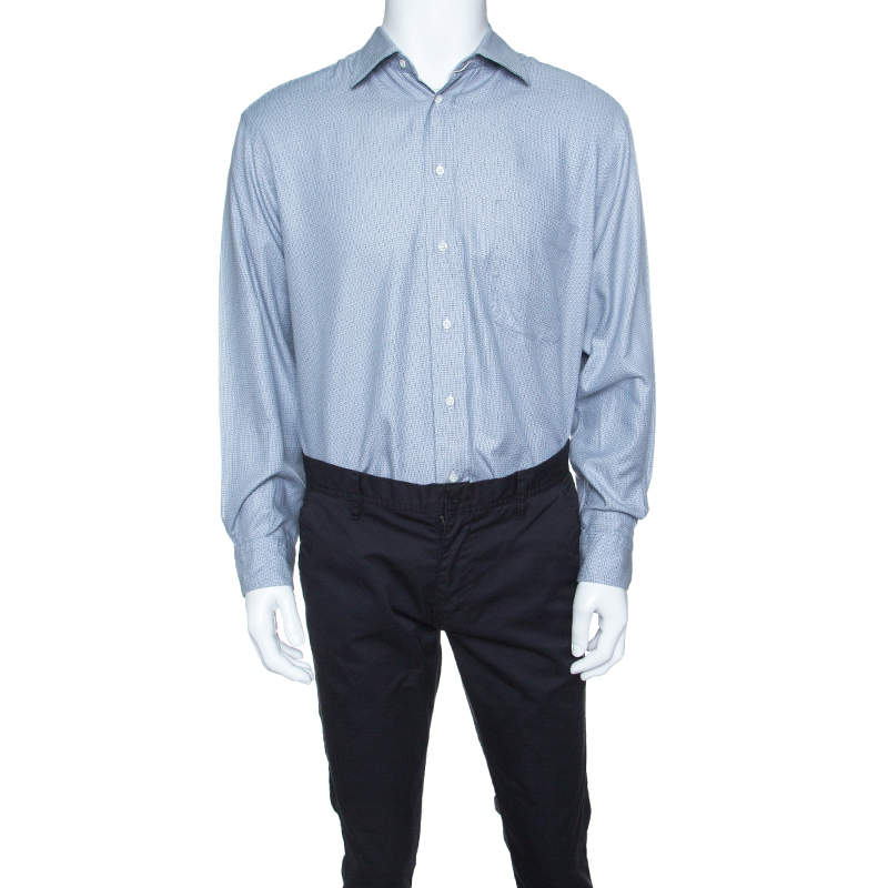 Boss By Hugo Boss Blue Herringbone Pattern Long Sleeve Cotton Shirt L