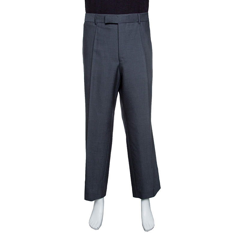 Boss By Hugo Boss Grey Wool and Mohair Tailored Trousers 4XL