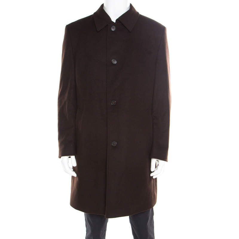 Boss By Hugo Boss Brown Wool and Cashmere The Task9 Overcoat 2XL