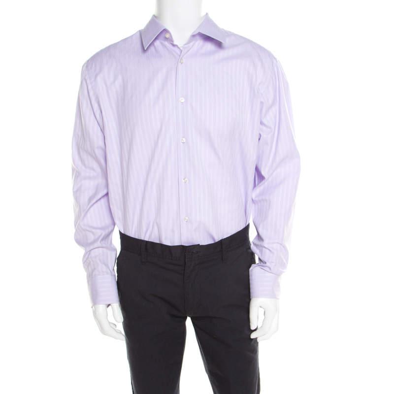 Boss By Hugo Boss Purple Striped Two Ply Regular Fit Shirt 2XL (EU 45)