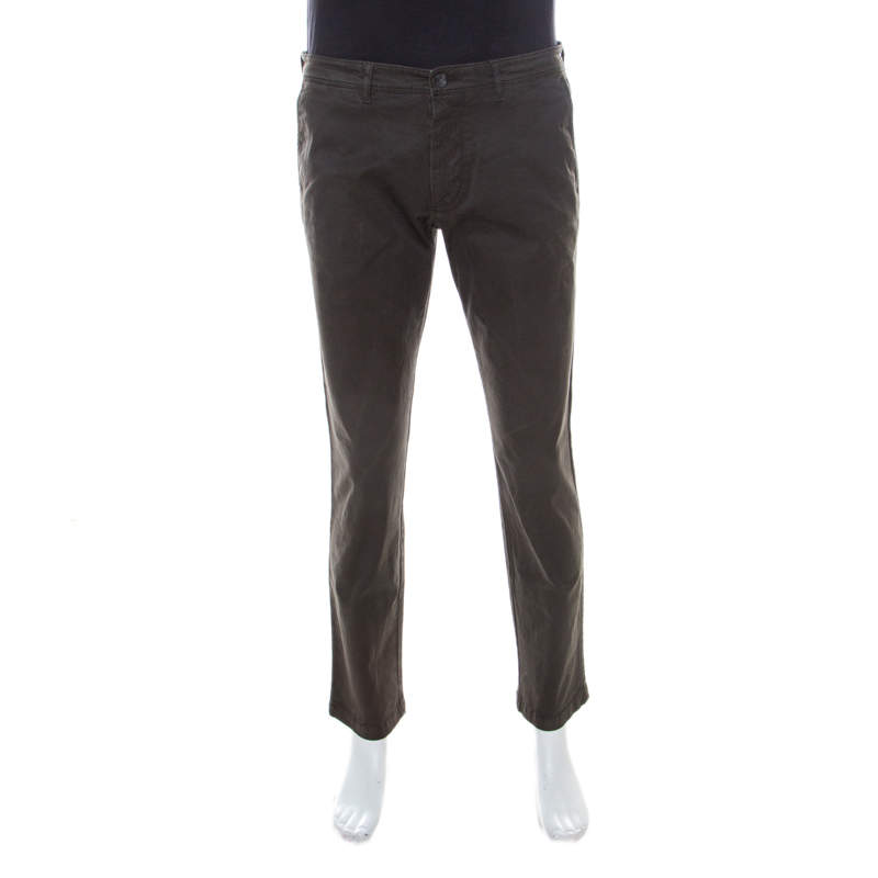 Boss by Hugo Boss Brown Coated Cotton Regular Fit Pants M