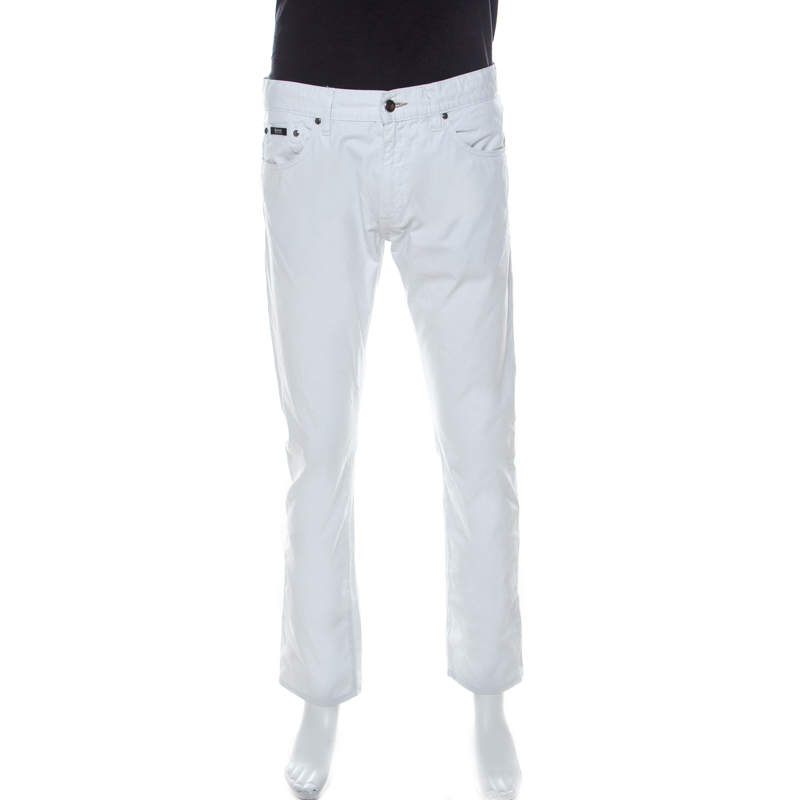 Boss by Hugo Boss White Cotton Regular Fit Maine Chinos M