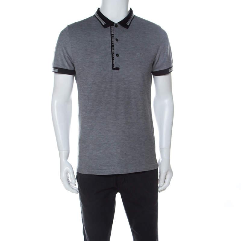 Boss by Hugo Boss Grey Cotton Paule-4 Polo Shirt L