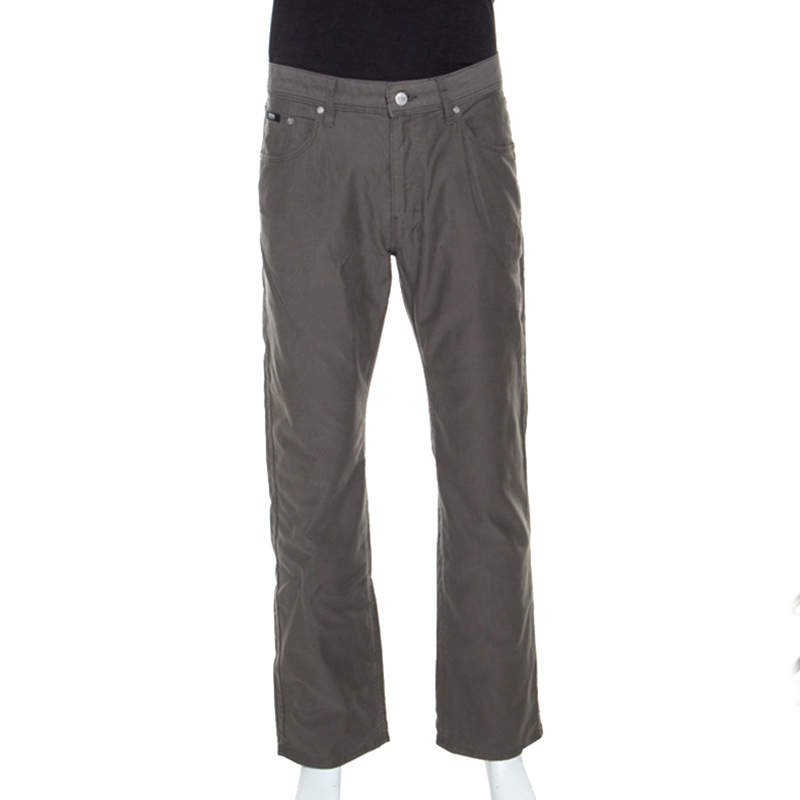 Boss By Hugo Boss Grey Cotton Oklahoma Trousers L