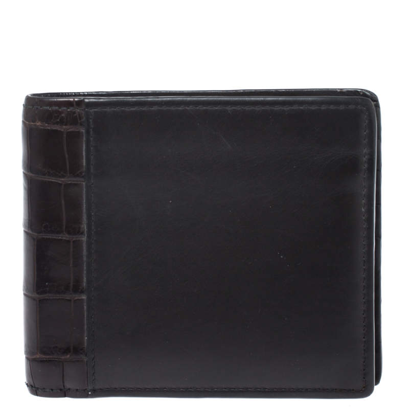 Bottega Veneta Dark Brown Leather and Alligator Bifold Wallet