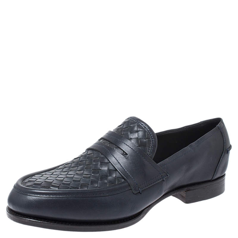 Bottega Veneta Blue Intrecciato Leather Penny Loafers Size 40