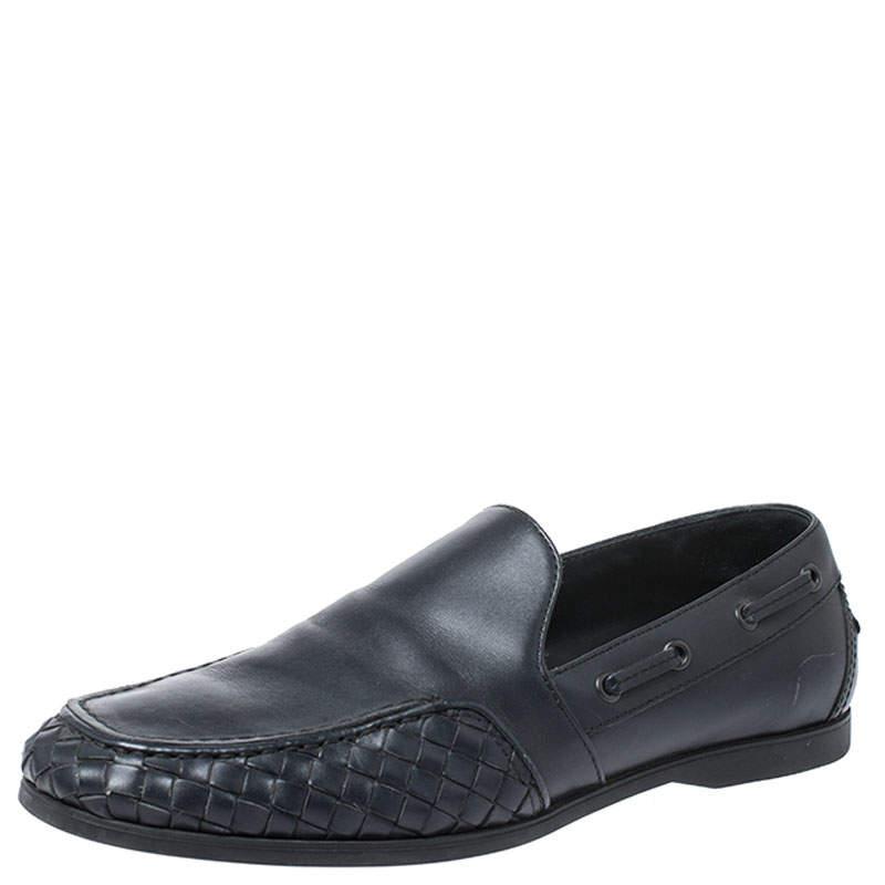 Bottega Veneta Black Intrecciato Leather Slip On Loafers Size 40