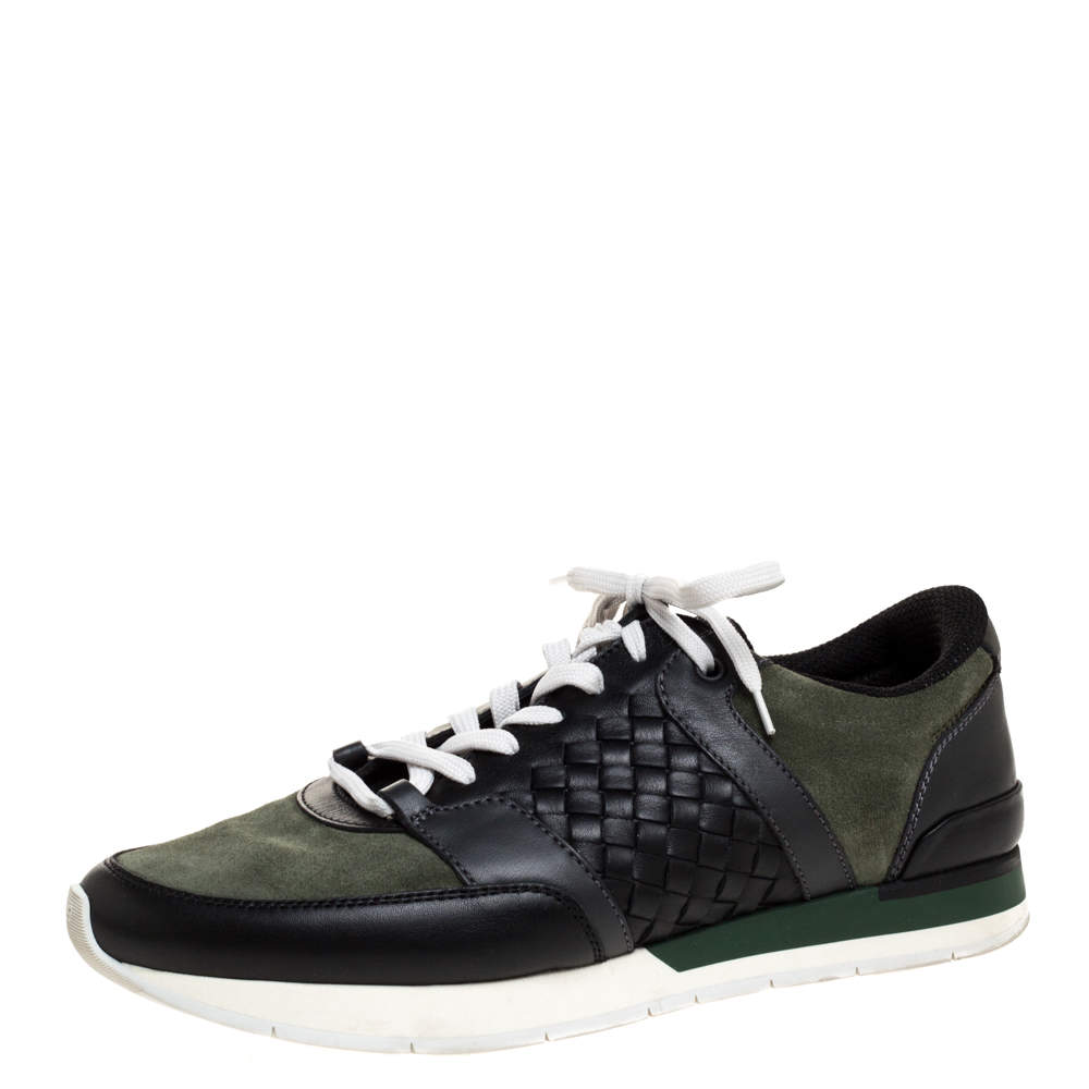 Bottega Veneta Black Intrecciato Leather and Green Suede Sneakers Size 41
