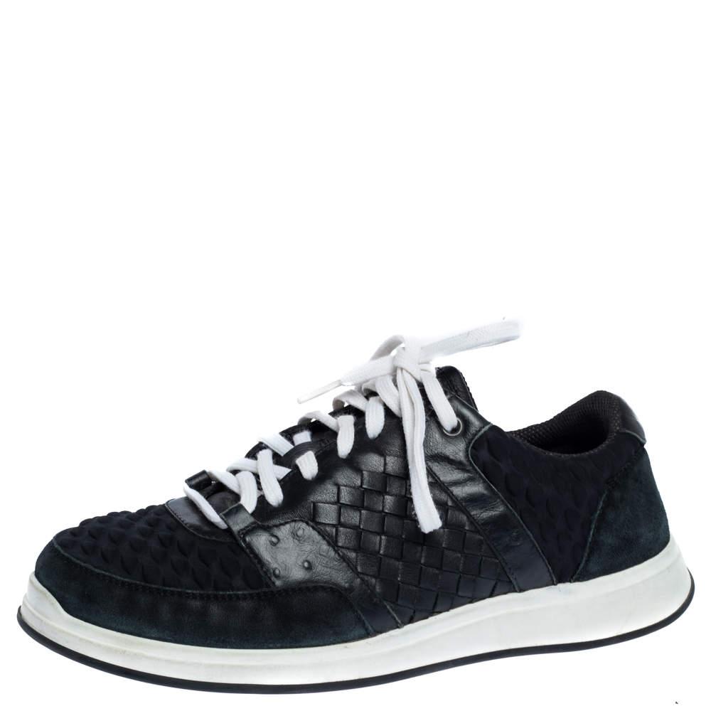 Bottega Veneta Black Intrecciato Leather, Ostrich Trim and Suede Sneakers Size 41.5
