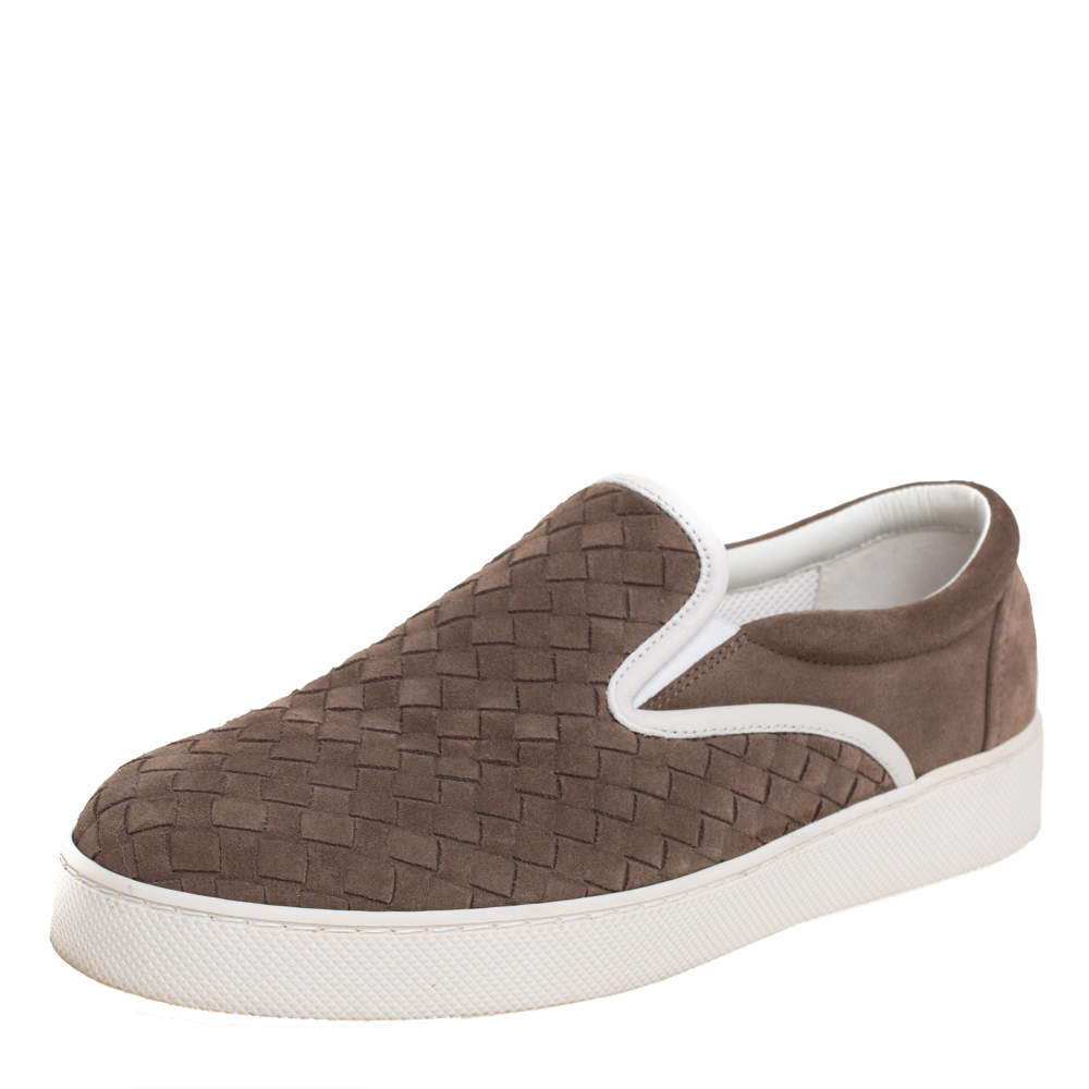 Bottega Veneta Brown Intrecciato Suede Slip On Sneakers Size 41