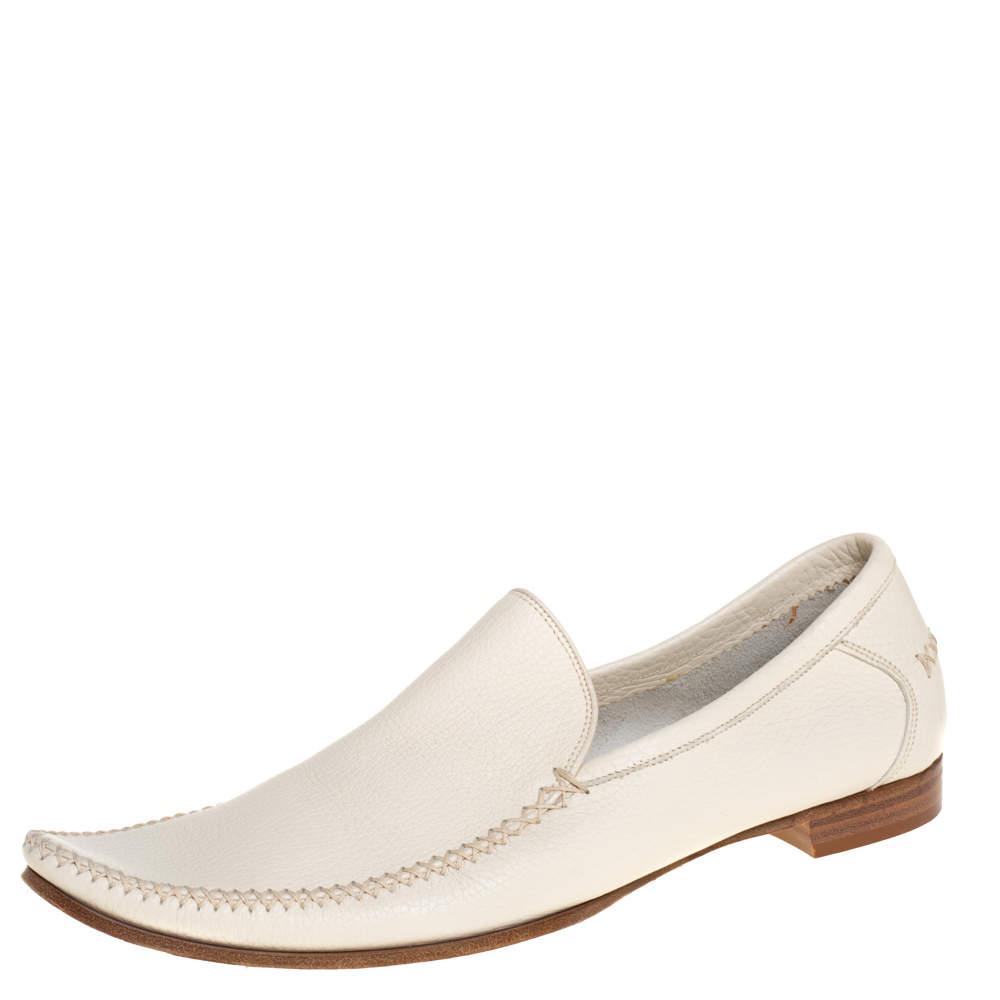 Bottega Veneta Cream Leather Pointed Toe Slip on Loafers Size 41