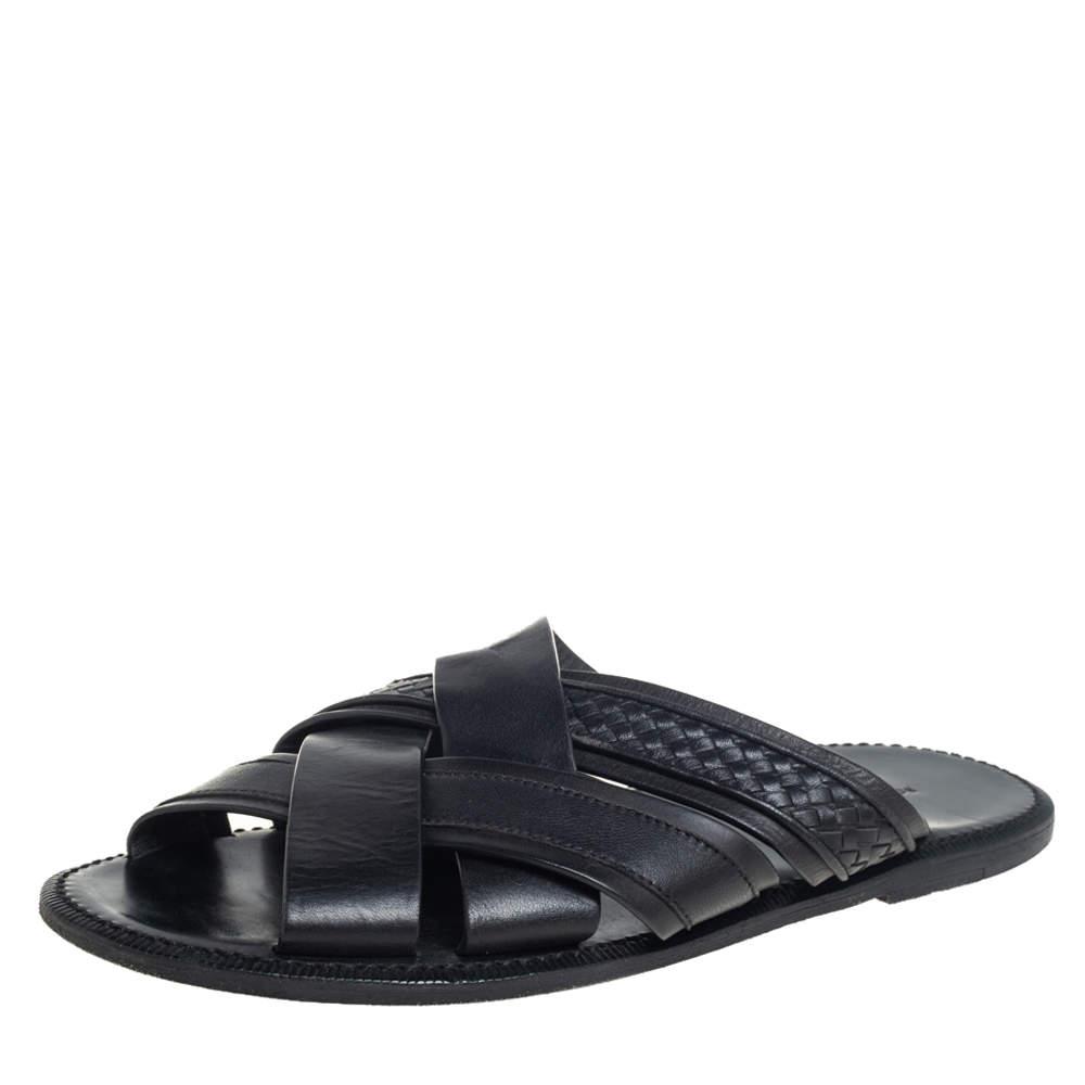 Bottega Veneta Black Intrecciato Leather Slide Sandals Size 42