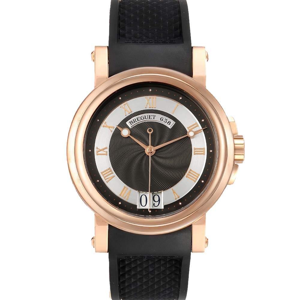 Breguet Grey 18K Rose Gold Marine Big Date 5817BR Men's Wristwatch 39 MM