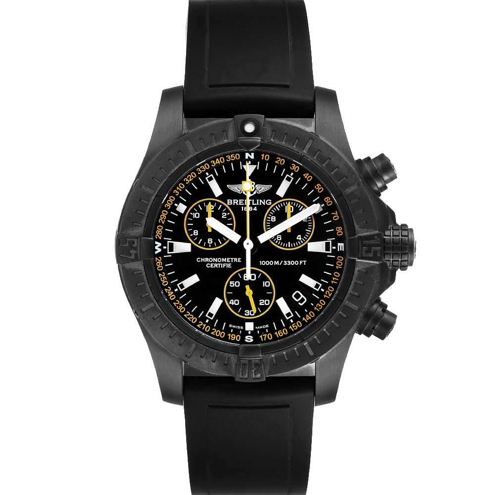 Breitling Black Blacksteel Avenger Seawolf Chrono M73390 Men's Wristwatch 45 MM