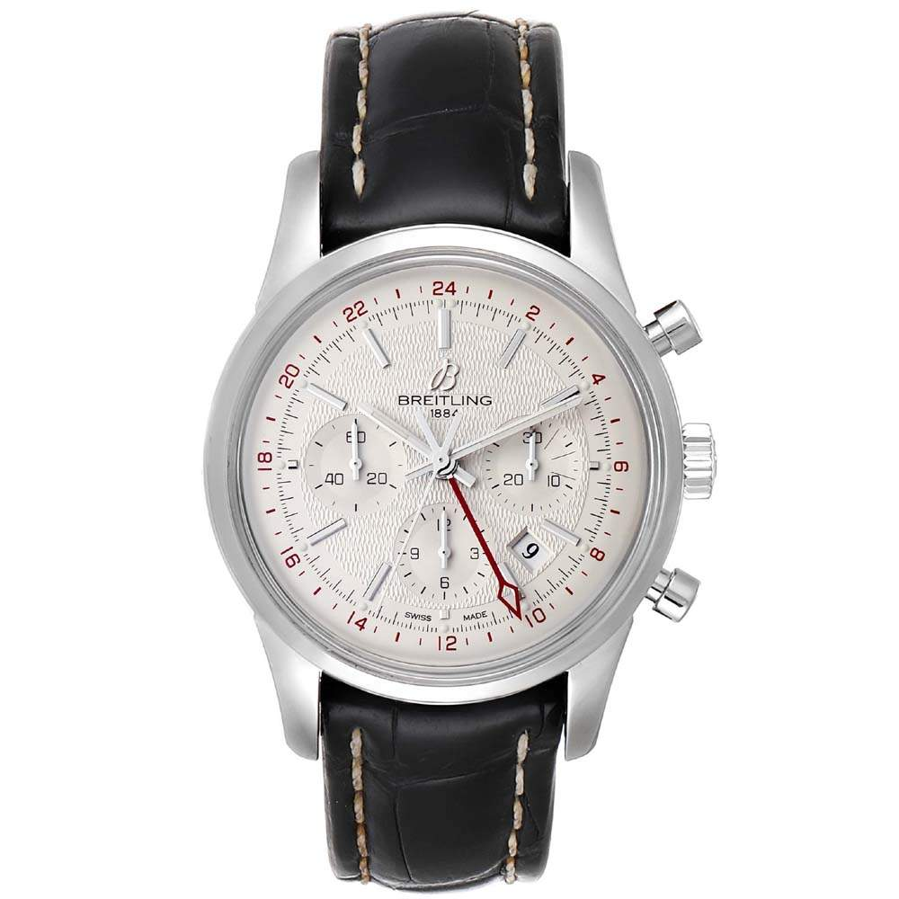 Breitling Silver Stainless Steel Transocean AB0451 Men's Wristwatch 43 MM