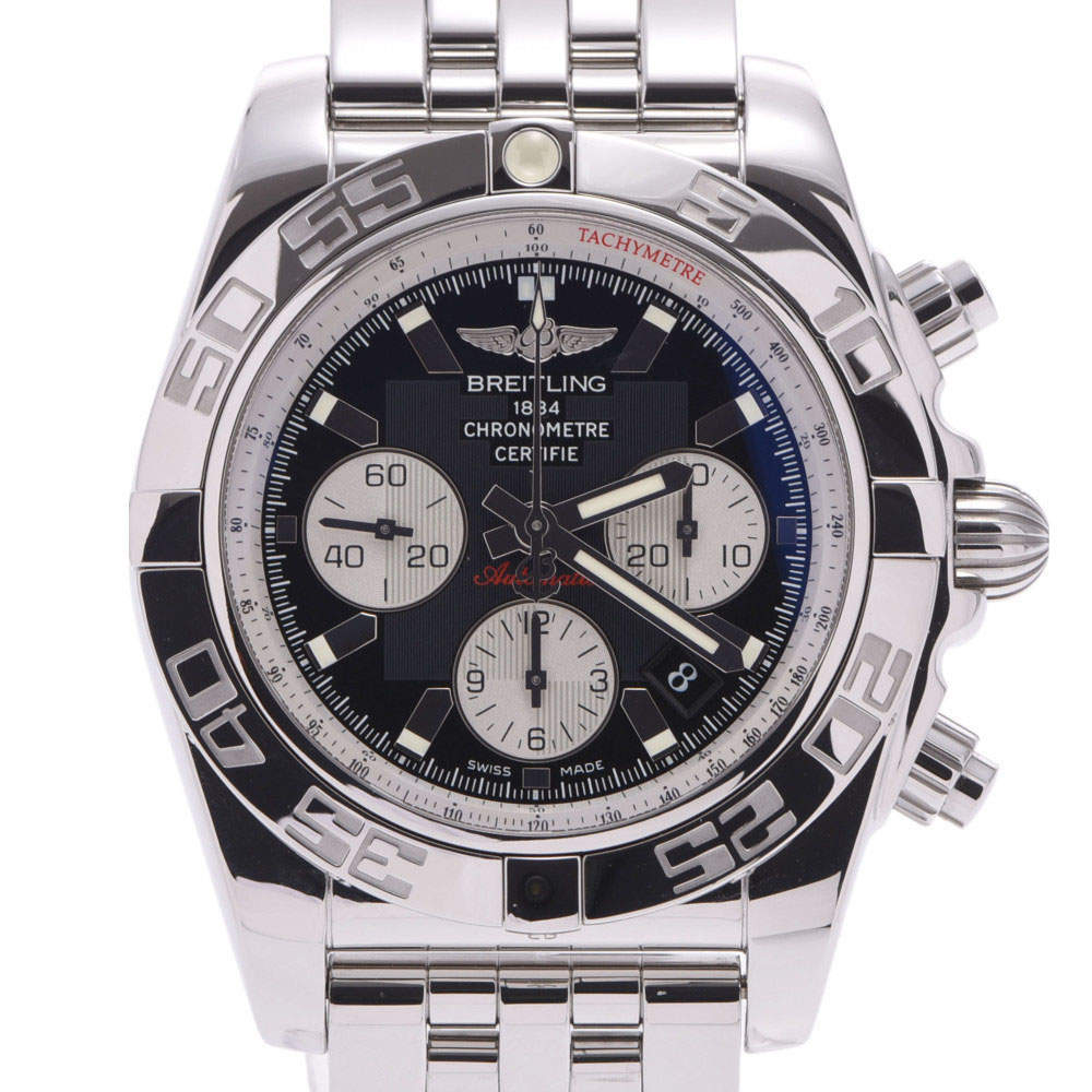Breitling Black Stainless Steel Chronomat AB0110 Automatic Men's Wristwatch 44 MM