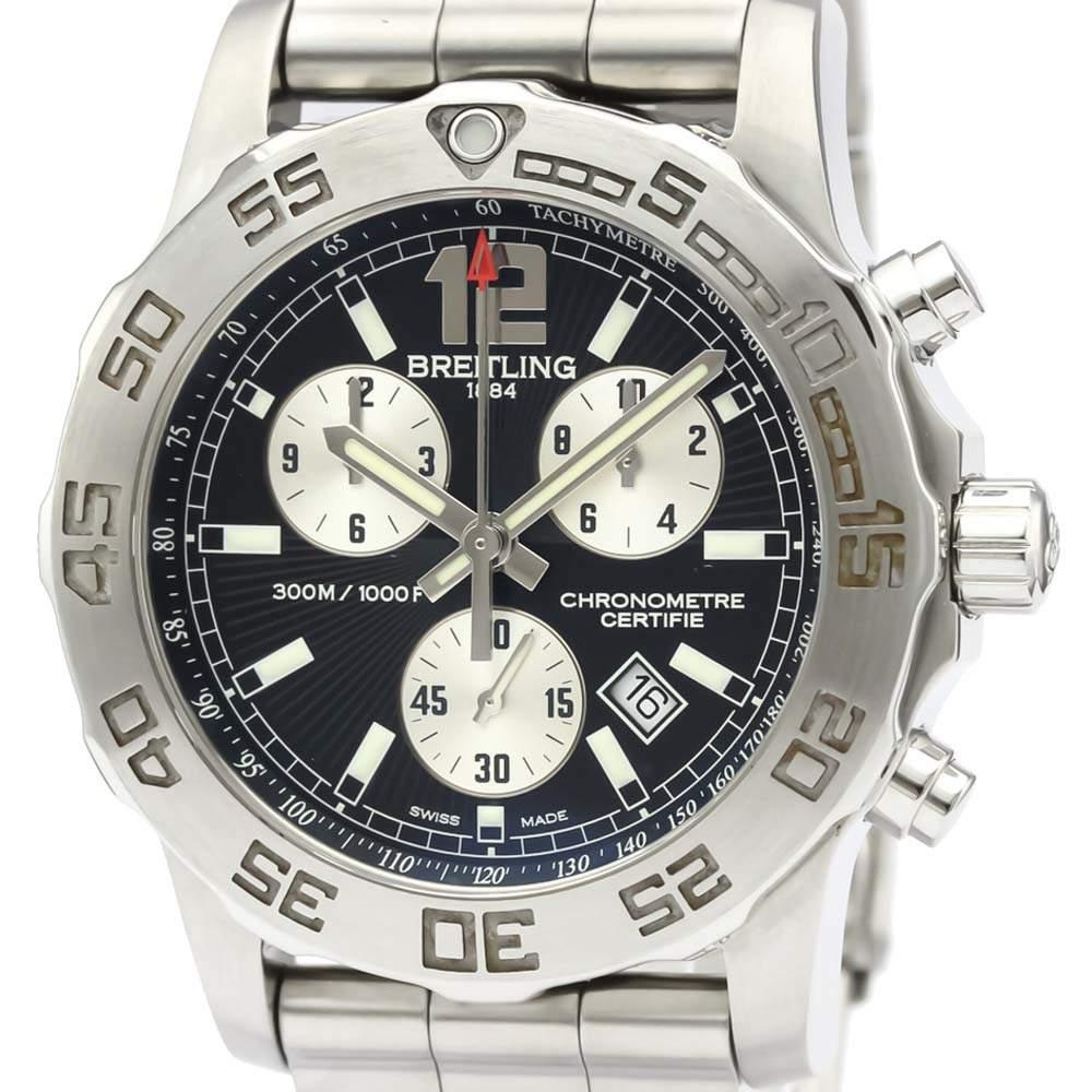 ساعة يد رجالية بريتلينغ كولت كرونوغراف كوارتز A73387 ستانلس ستيل سوداء 44 مم