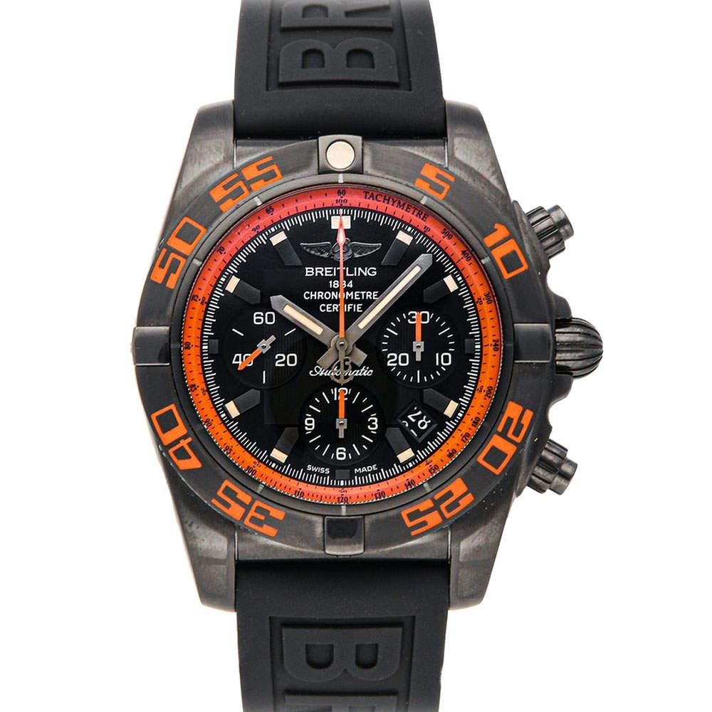 Breitling Orange/Black Blacksteel Chronomat Raven MB0111C2/BD07 Men's Wristwatch 44 MM
