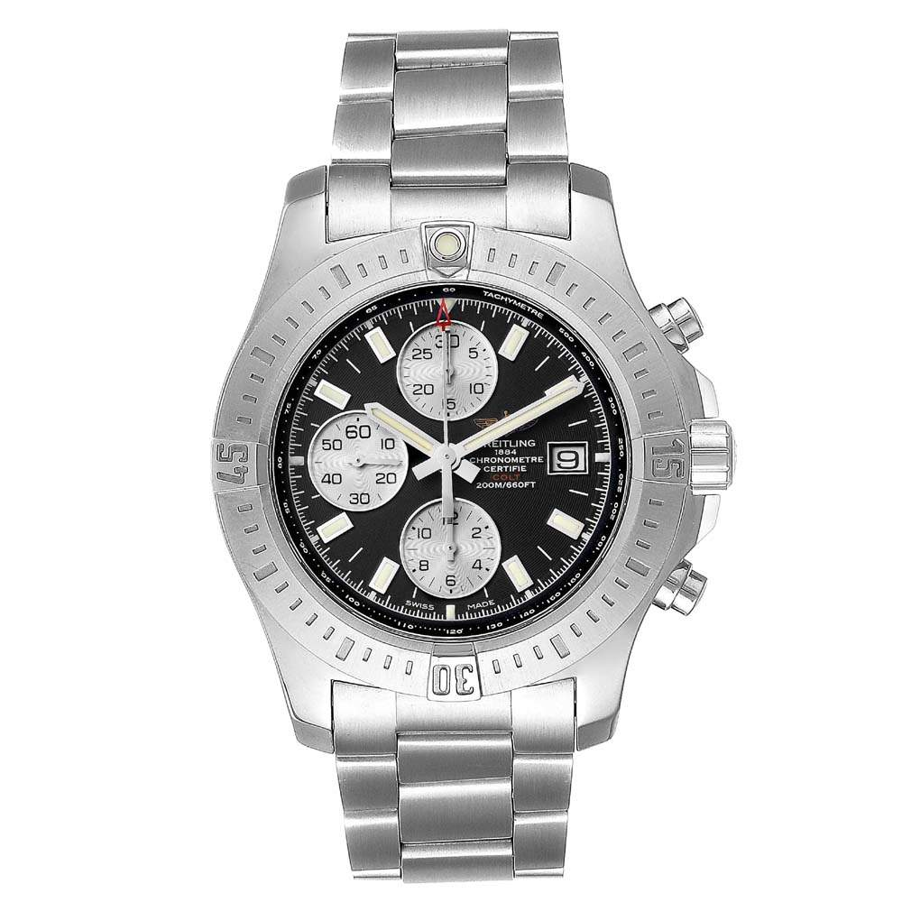 Breitling Black Stainless Steel Colt A13388 Men's Wristwatch 44 MM