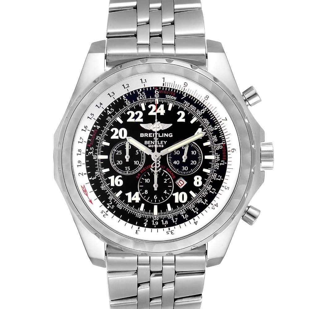 Breitling Black Stainless Steel Bentley Lemans Chronograph Limited Edition A22362 Men's Wristwatch 49 MM