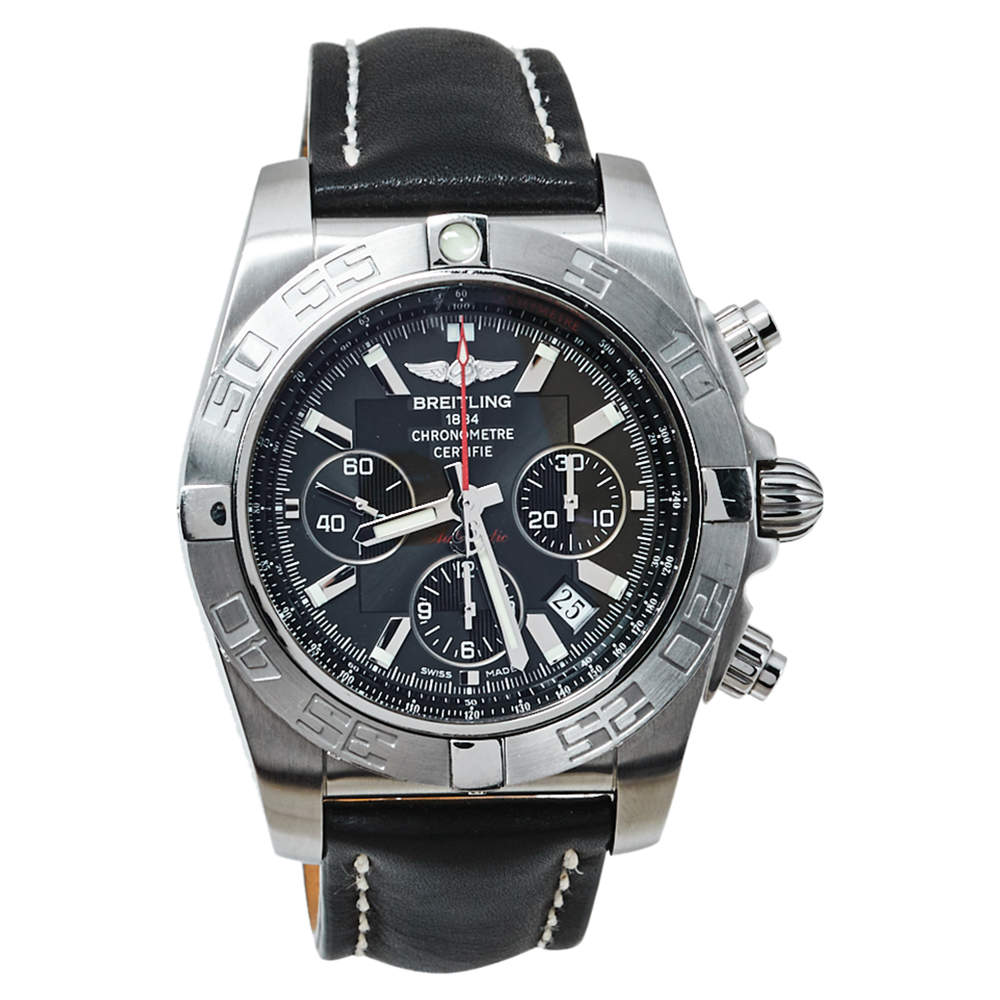 Breitling Black Stainless Steel & Leather Chronomat AB0110 Men's Wristwatch 44MM