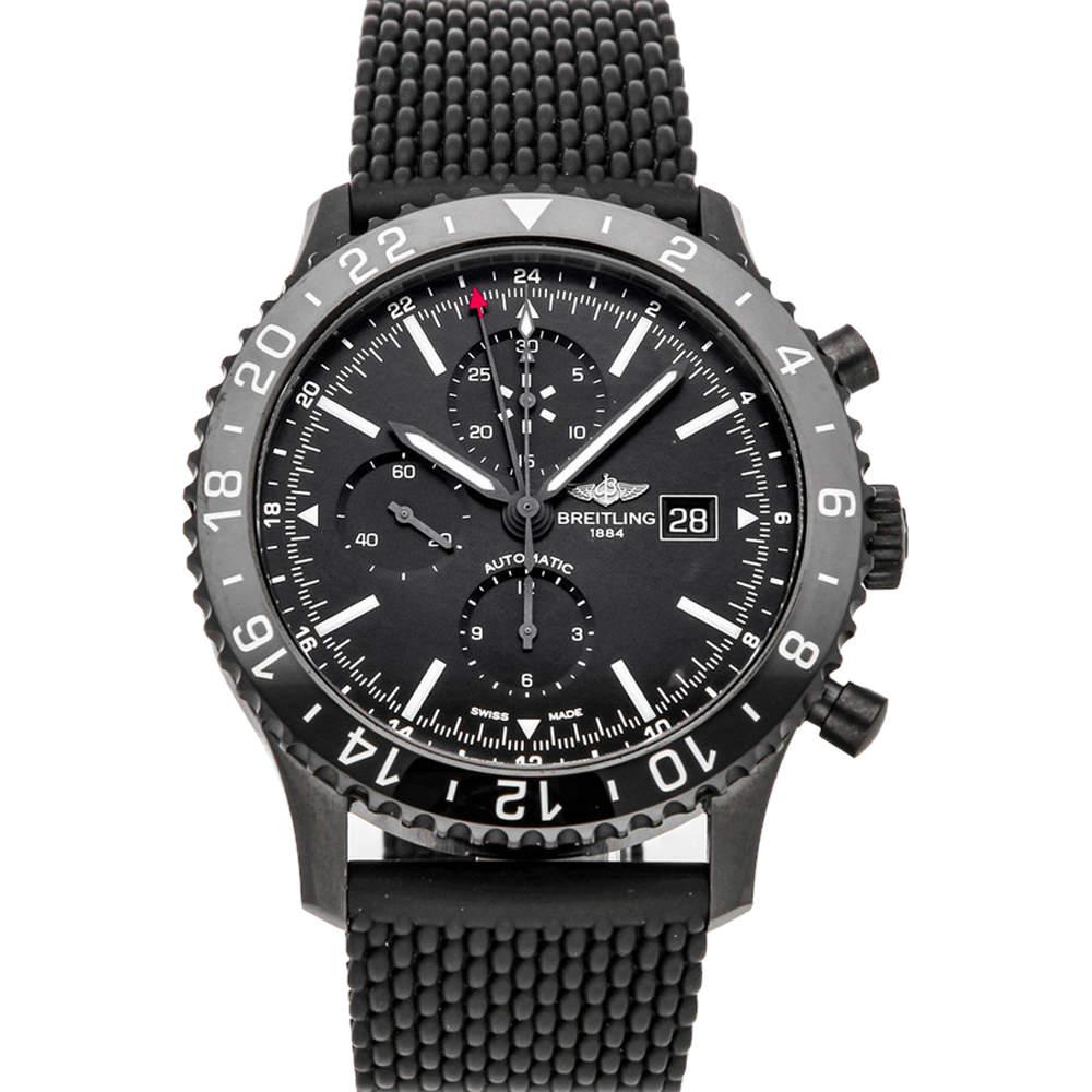 Breitling Black Blacksteel Chronoliner M2431013/BF02 Men's Wristwatch 46 MM